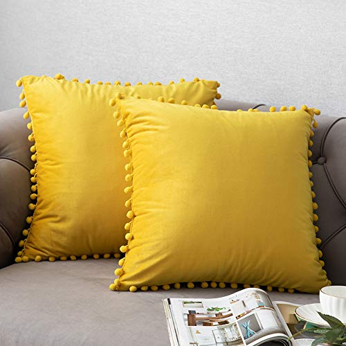 DEZENE Couch Pillow Cases with Pom Poms,2 Pack, Solid Soft Velvet Square Decorative Pillow Covers,Accent Pillowcases,Euro Cushion Covers for Farmhouse,Sofa,Kids,Indoor & Outdoor,18 x 18 Inch,Yellow (Covers Decorative Pillow Cheap)