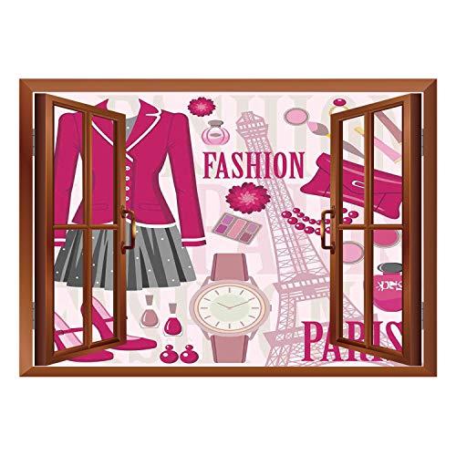 SCOCICI Window Mural Wall Sticker/Girls,Fashion Theme in Paris with Outfits Dress Watch Purse Perfume Parisienne Landmark,Pink Biege/Wall Sticker Mural -