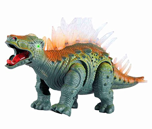 Liberty Imports Electronic Walking Jurassic Stegosaurus Dinosaur Toy Figure with Swinging Tail Action, Roaring Sounds and LED Lights | Battery Operated Dinosaurs Gift for Kids Boys ()