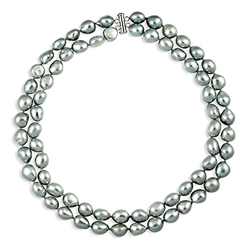 - Sterling Silver Gray Baroque Freshwater Cultured Pearl Necklace Strand Birthday Gift 11-11.5mm 17 inch