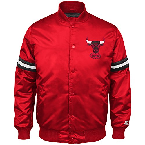 NBA Chicago Bulls Men's Retro Satin Full Snap Jacket, Medium, Red