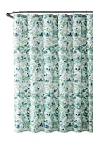 Dark Green Shower Curtain VCNY Home Bathroom Fabric Shower Curtain: Lush Nature Green Blue Teal White Leaf Pattern on Faux Linen