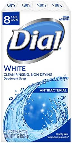 Dial Antibacterial Deodorant Soap, White, 4 Ounce Bars, 8 Count
