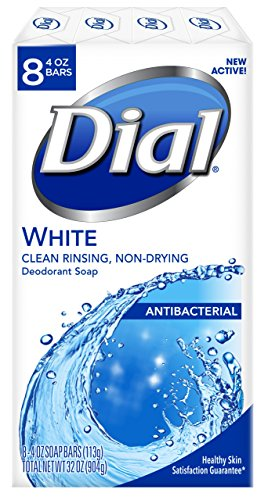 Dial Antibacterial Deodorant Soap, White, 4-Ounce Bars, 8 Count