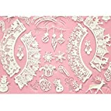 HJLHYL Cake Baking Mat Lace Mat Silicone Cake Mold for Decoration,Silicone Mat Fondant Cake Tools Color Pink