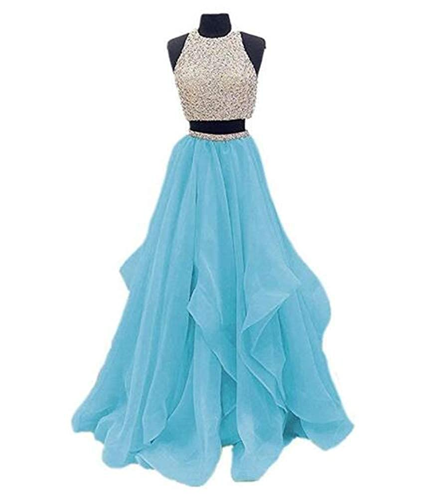 bluee Yuki Isabelle Women's Two Pieces Beaded Keyhole Back Evening Gown Floor Length Organza Prom Dress