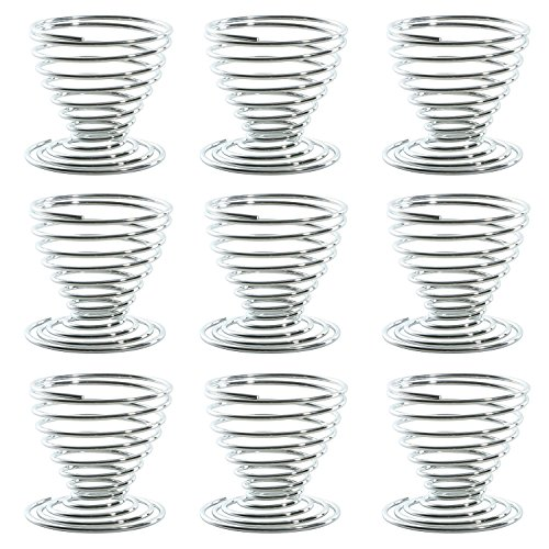 Mini Spring Egg Cup Set Boiled Egg Storage Tray Egg Holder Stand Stainless Steel Kitchen Utensil Holder in Silver (Set of 5 and 10pcs)