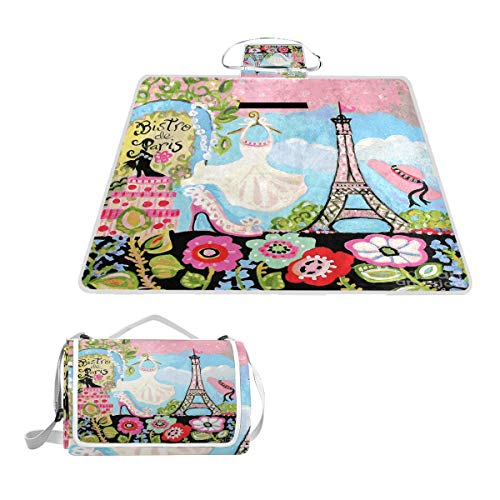 FunnyCustom Picnic Blanket Paris Bistro Dress Outdoor Blanket Portable Moisture Proof Picnic Mat for Beach Camping