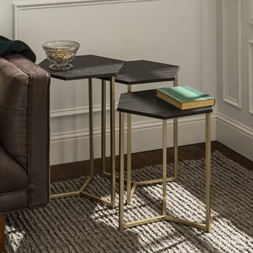 Walker Edison Furniture Modern Hexagon Nesting Side End Table Set Living Room, Set Of 3, Graphite, Gold