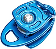 Tongina 35kN Aluminum Double Pulley Ball Bearing CE for Rigging Hauling Rescue Arborist Tree Climbing, Durable