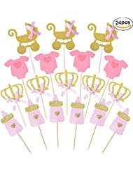 Pink and Gold Girl Baby Shower Cupcake Toppers Picks,Glitter Crown Cupcake Toppers, Girls Birthday Party Favor Kit