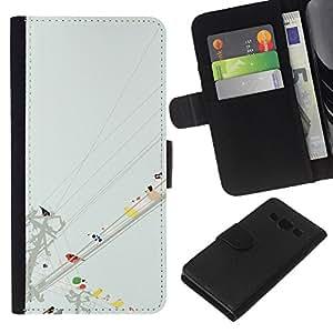 Planetar® Modelo colorido cuero carpeta tirón caso cubierta piel Holster Funda protección Para Samsung Galaxy A3 / SM-A300 ( Acuarela minimalista en colores pastel)