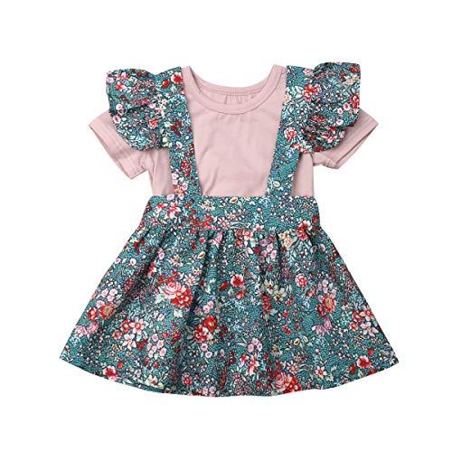 - Easter Day-Toddler Baby Girls Skirt Set Ruffle Sleeve T-Shirt Tops+ Bunny Overall Skirt (Pink 03, 18-24 Months)