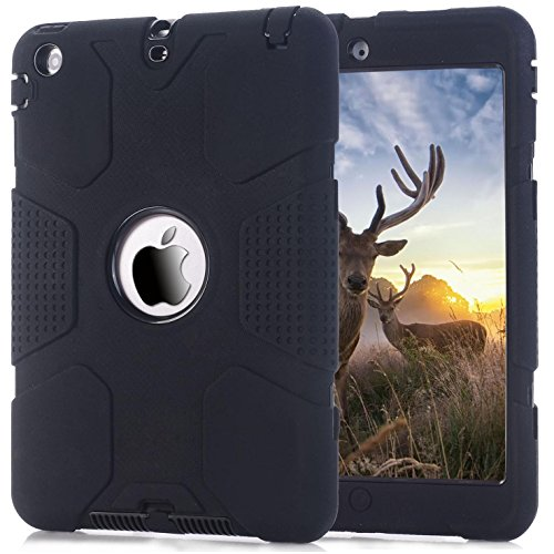 iPad mini 1/2/3 Case, Firefish [Exact-Fit] 3 in 1 Combo Full Body Protection Cover High Impact Resistant Hybrid Silicone with Hard PC Case for Apple iPad Mini 1/2/3 -Black+Black