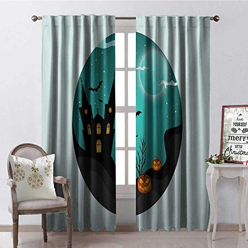 Hengshu Pale Green Halloween Room Darkening Wide Curtains Decor Curtains by W108 x L108