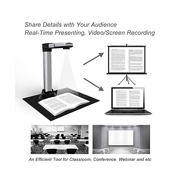 Split /& Deskew Convert Images to Word//Excel//PDF PC only Auto Flatten 1860TM eloam Portable Book /& Document Scanner