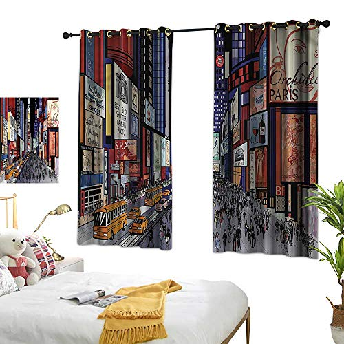 Fabric Shower Curtain Liner Cities of States,Broadway Colorful 84