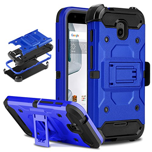 Alcatel Dawn Case, DONWELL 4 in 1 Hybrid Shockproof Heavy Duty Rugged Full Body Protective Cover Built-in Rotating Kickstand Swivel Belt Clip Holster Case for Alcatel Dawn (Blue)(4.5inch) (One Touch Alcatel 5 Phone Cases)