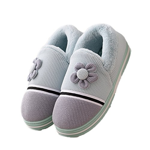 CYBLING Womens Winter Warm Slipper Plush Slip On Shoes Soft Sole Blue UBmUa