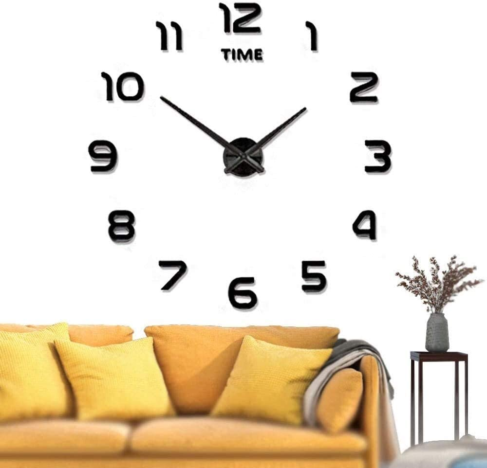 JUCK Large Wall Clock Battery Operated DIY Wall Clock Wall Decorations for Living Room/Office (Color : Black)