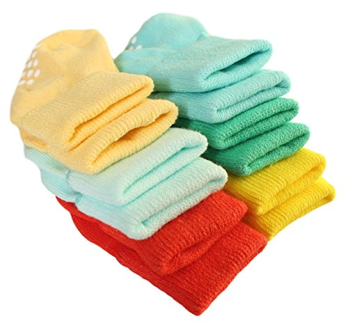 Aymoon Socks Baby Boys-Girls Non-Skid and Anti-Slip Turn Cuff Pack of 6 Multi-Color (3-12, Unisex Green-Red-Yellow Set)