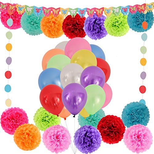 13' Pull String (LyButty Colorful Party decorations with 16 Tissue pom poms flower 80 Party Balloons 1 bowknot banner paper garland &1 Polka Dot Paper Garland -Birthday Party Supplies)