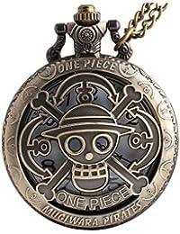 One Piece Anime Vintage Antique Bronze Steampunk Quartz Pocket Watch Necklace Pendant Gift Box