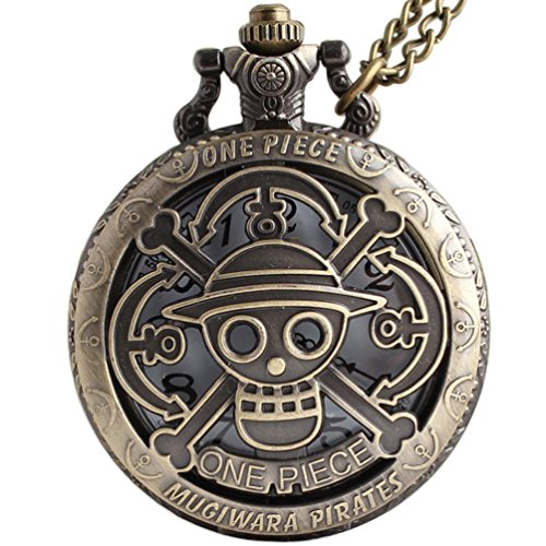 VIGOROSO One Piece Anime Vintage Antique Bronze Steampunk Quartz Pocket Watch Necklace Pendant Gift Box