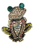 frog ring - Alilang Adjustable Antique Golden Tone Multicolored Rhinestones Frog Toad Ring