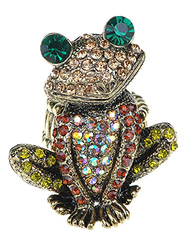 Alilang Adjustable Antique Golden Tone Multicolored Rhinestones Frog Toad Ring