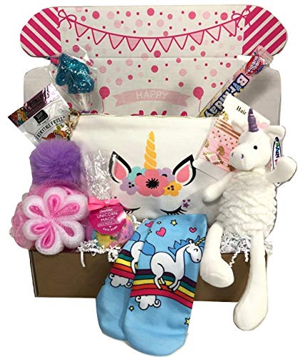 Stuffed Unicorn Birthday Gift Basket Box for Girls Cosmetic Bag Treats and More 9 Pieces - Free Message Lollipops