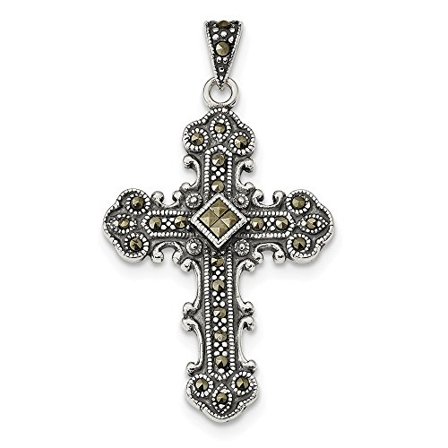 (Best Designer Jewelry Sterling Silver Marcasite Cross Pendant)