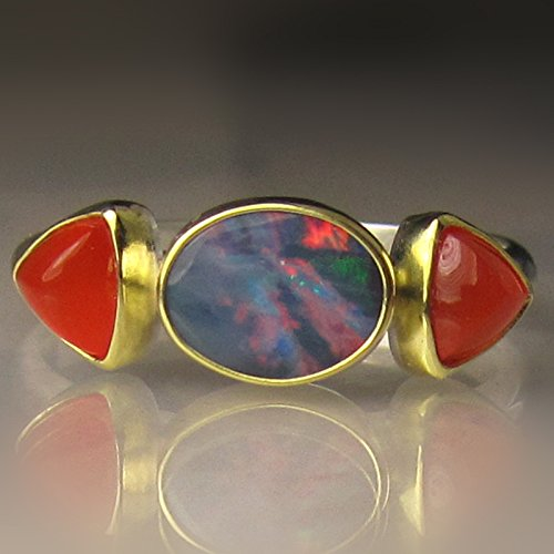 Boulder Opal and Carnelian Ring in 18k Gold and Sterling (18k Carnelian Ring)