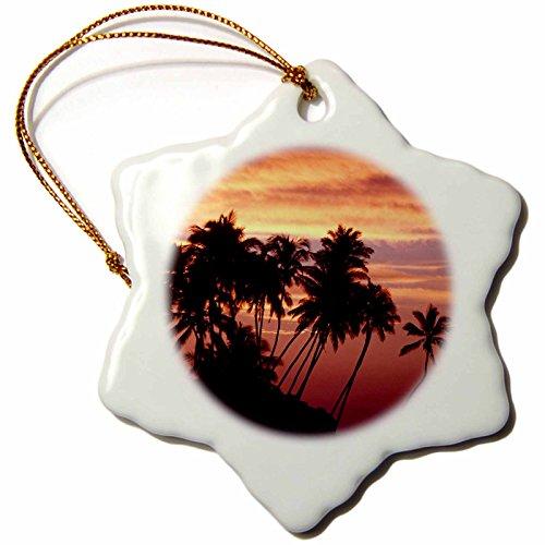3dRose orn_89501_1 Hawaii, Big Island. Sunset Over Palm Grove-Us12 Bja0008-Jaynes Gallery-Snowflake Ornament, 3-Inch, Porcelain by 3dRose