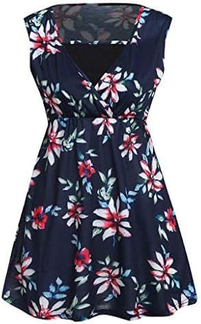 Jeash Women Maternity Elegant Floral Print Sleeveless Comfy Double-Layered Nursing Tops Sleepwear Breastfeeding Vest T-Shirt