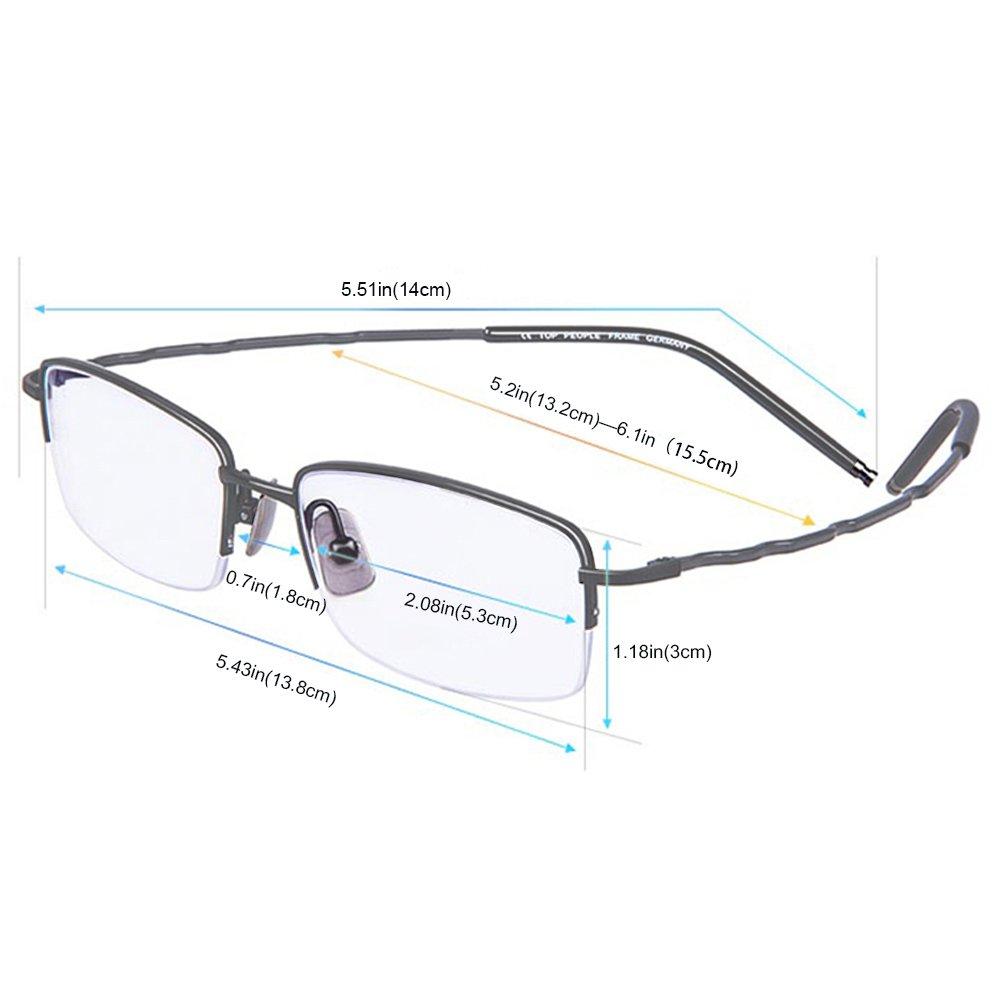 TERAISE Reines Titan Halbrahmen-Brillen Working//Business Dauerhafte Brille
