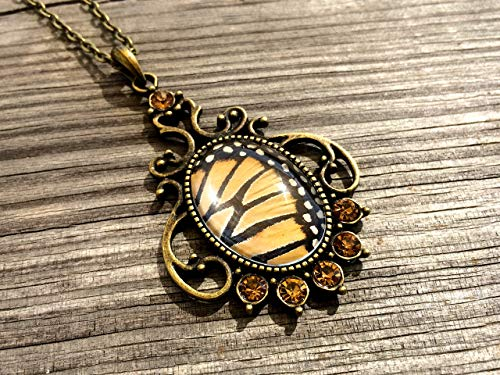 Real Monarch Butterfly Wing Pendant Necklace - Danaus Plexippus - Entomology Insect Jewelry - Swarovski crystals]()