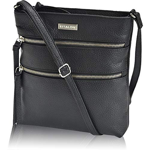 Black Stitched Handbag - Leather Crossbody Purse for Women- Premium Crossover Cross Body Bag Over the Shoulder Luxury Womens Purses and Handbags (Black Pebble)