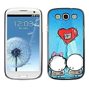 Paccase / SLIM PC / Aliminium Casa Carcasa Funda Case Cover - Cute Balloon Couple - Samsung Galaxy S3 I9300
