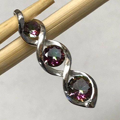 Gorgeous 2.5ct Rainbow mystic Topaz 925 Solid Sterling Silver Twist Pendant 28mm