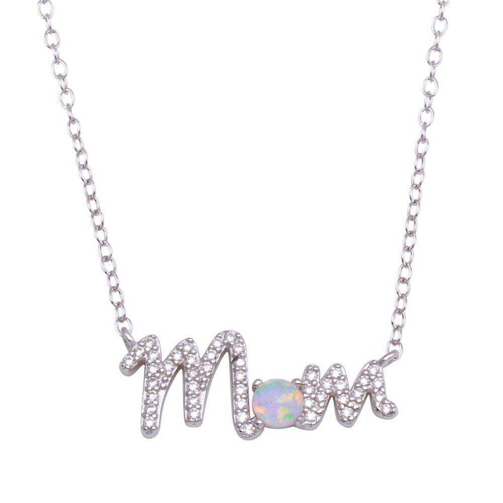 CloseoutWarehouse White Simulated Opal Clear Cubic Zirconia Mother Pendant Necklace Sterling Silver