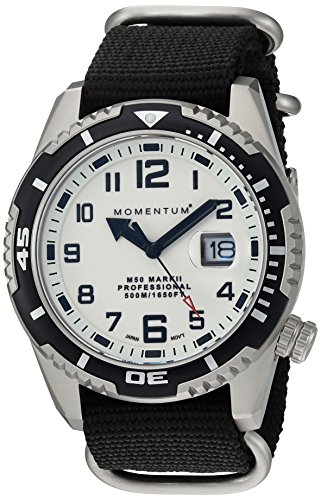 Momentum Men's 'M50 Mark II' Quartz Stainless Steel and Nylon Diving Watch, Color:Black (Model: 1M-DV52L7B)