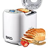 SKG Automatic Bread Machine 2LB - Beginner Friendly Programmable Gluten Free Whole Wheat Breadmaker (19 Programs, 3 Loaf Sizes, 3 Crust Colors, 15 Hours Delay Timer, 1 Hour Keep Warm, White)