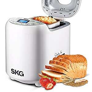 SKG Automatic Bread Machine 2LB - Beginner Friendly Programmable Bread Maker (19 Programs, 3 Crust Colors, 3 Loaf Sizes, 15 Hours Delay Timer, 1 Hour Keep Warm) - Gluten Free Whole Wheat Breadmaker