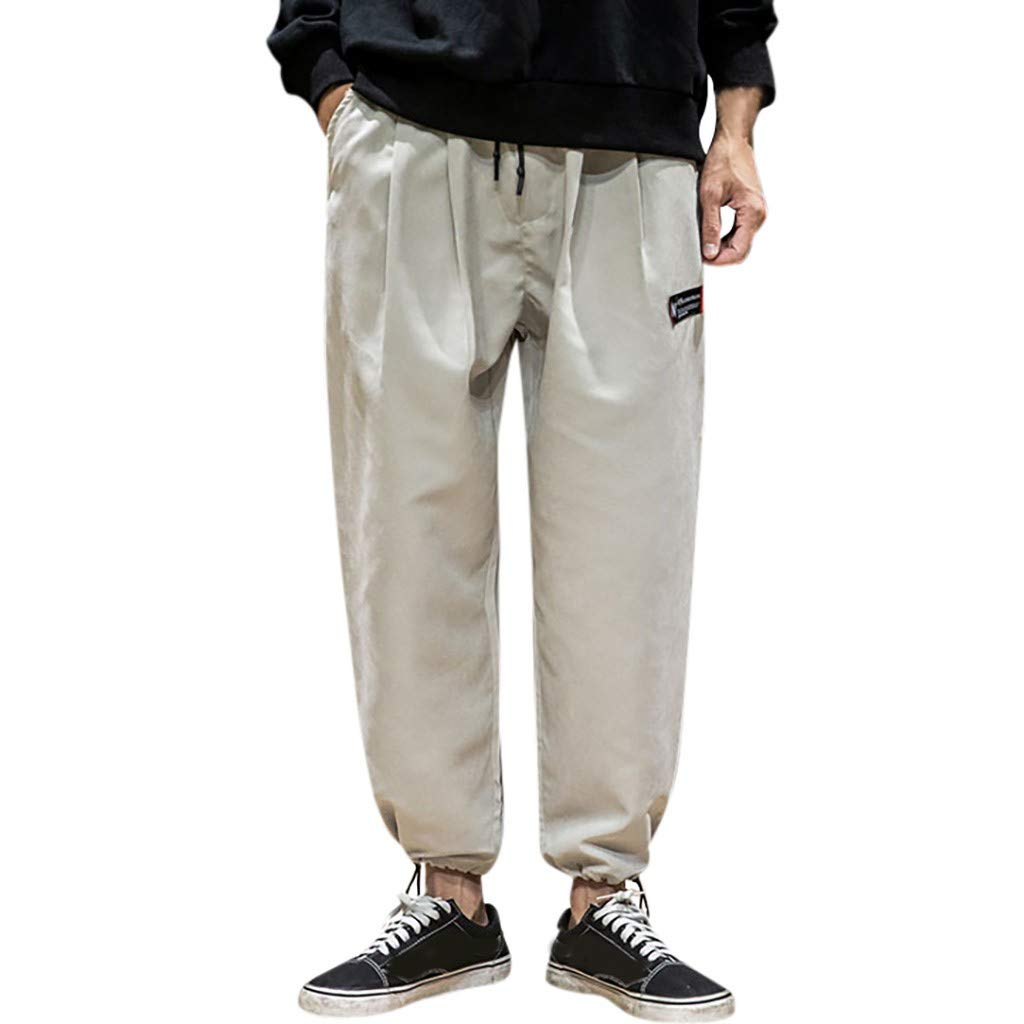 Men's Pants Summer Fashion Loose-fit Outdoor Ankle-Length Cargo Pants with Drawstring (XL, Gray) by PlayMate Men's pants