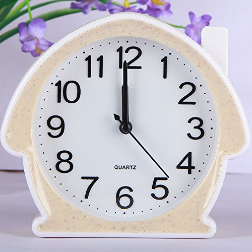 Heylookhere Quiet and Practical Lovely Silent House Alarm Clock for Kids Children Students (Beige)