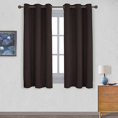 Solid Grommet Window Curtain Foam Lined Coffee - 3