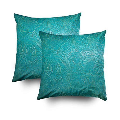 (Shorping Decorative Pillow Covers Hidden Zipper Pillow Covers 18X18Inch 2 Pack Throw Pillow Covers Leather Turquoise Blue Floral Faux for Home Sofa Bedding)
