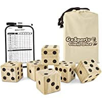 GoSports Giant Wooden Playing Dice Set with Scoreboard