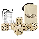 GoSports Giant 3.5'' Wooden Playing Dice Set with Bonus Rollzee Scoreboard (Includes 6 Dice, Dry-Erase Scoreboard and Canvas Carrying Bag)